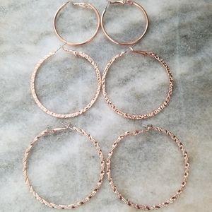NEW Rose Gold Tone Bundle of 3 Hoop Earrings